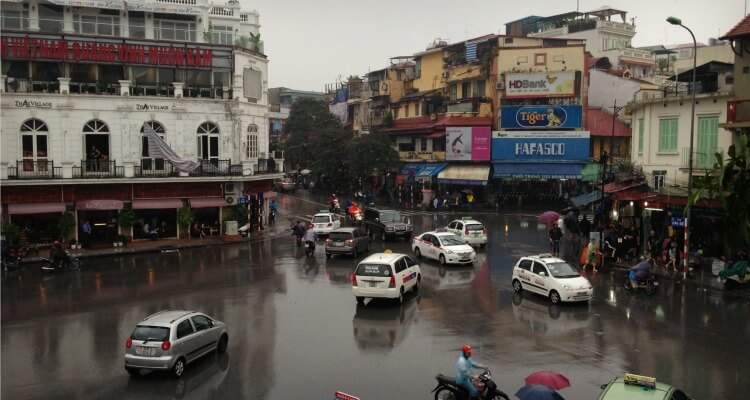 The bustling capital of Hanoi Vietnam with kids