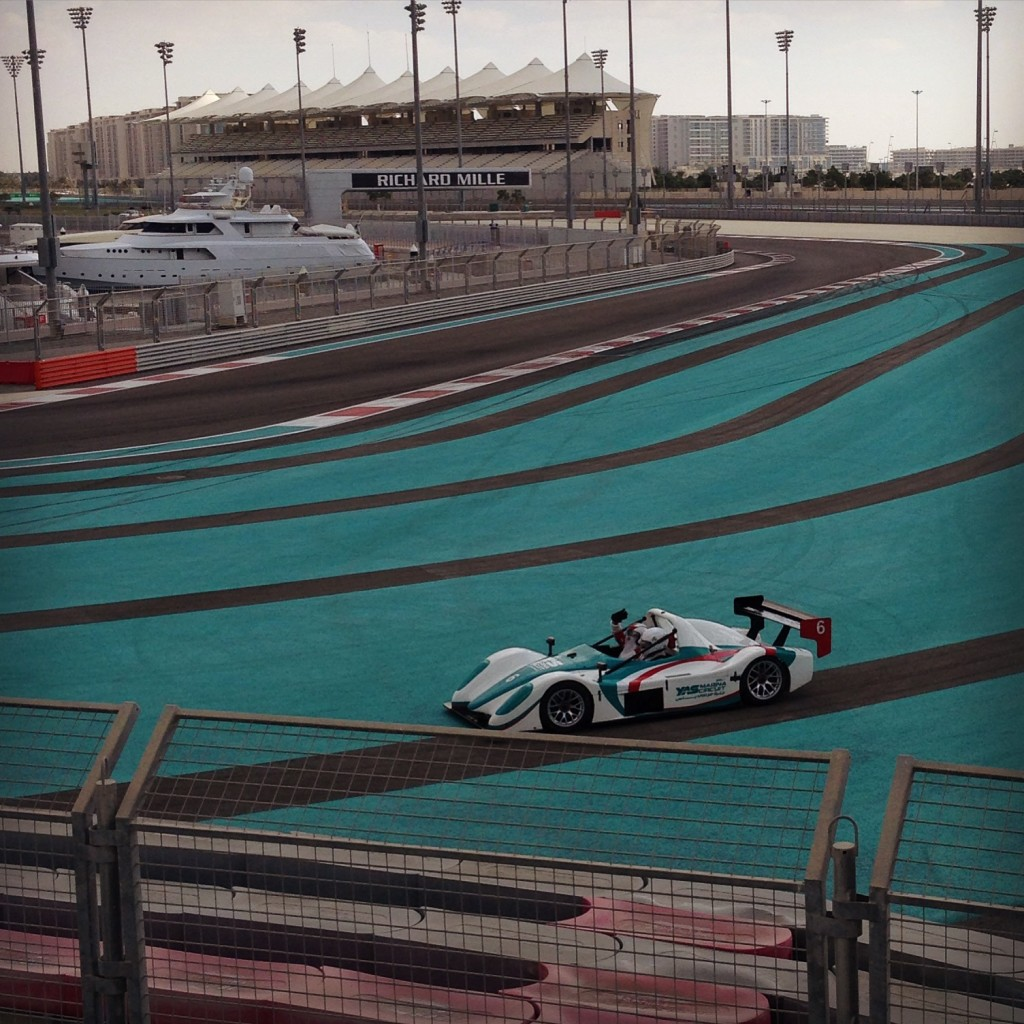 Santa in racing car Yas Marina Circuit