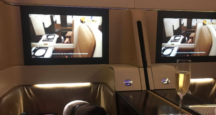 Inside Etihad First Class Cabin | OurGlobetrotters Family Airline review of Etihad