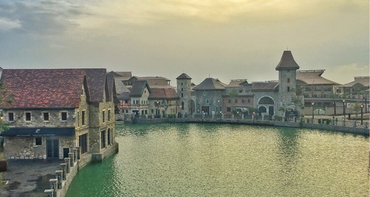 Riverland, the French themed entertianment district that connects Dubai Parks & Resorts Theme Parks
