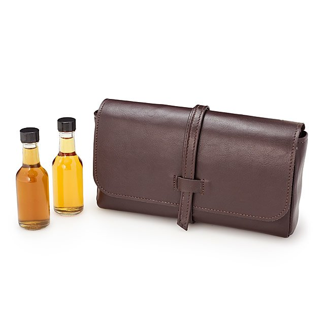leather mini bar travel set from Uncommon Goods