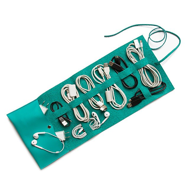 A cable tidy in green leather | Teenage Boy Gifts on Uncommon Goods