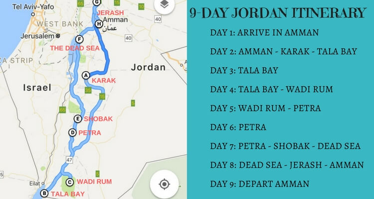 Jordan Map - Itinerary for a 9 day road trip with kids
