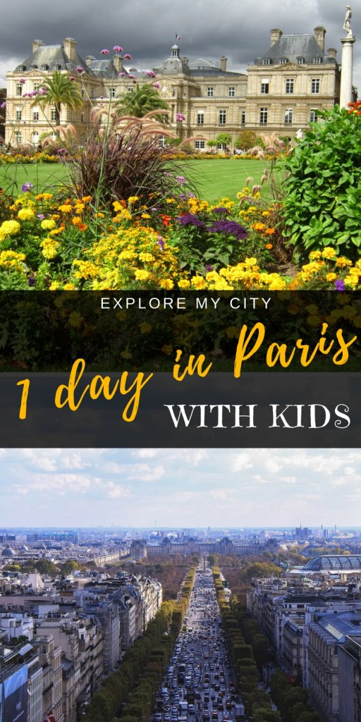 Jardin de Luxemberg and Champs Elysee wth text Paris in One Day with Kids