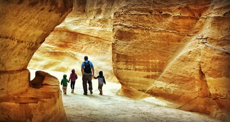 Petra With Kids - walking through the Siq