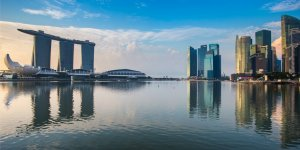 Singapore reflection of buildings Marina Bay Sands