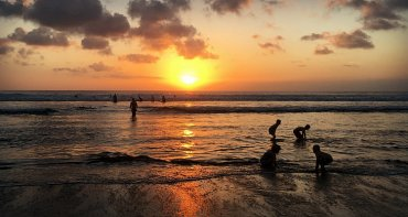 Children playing on Bali beach