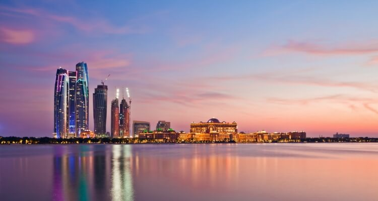 Abu Dhabi view of Emirates Palace and Jumeirah Towers | How to Transit from Dubai to Abu Dhabi | Our Globetrotters UAE Family Travel Experts