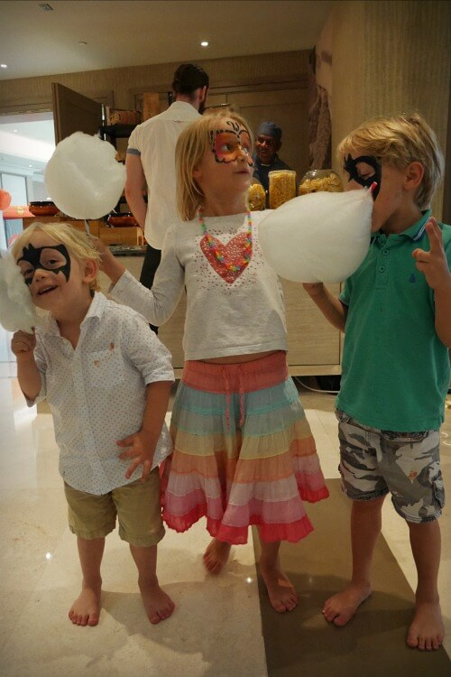 Kids enjoying fairy floss | Brunch at Crust Four Seasons Abu Dhabi | A family-friendly Friday dining option | Review by Our Globetrotters