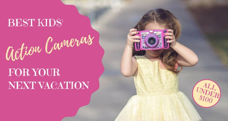 Kids Action Cameras - VTech Kidizoom being used by small child | Our Globetrotters review the latest kid-friendly camera technology