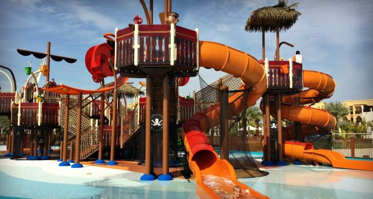 Double Tree Marjan Island Pirate Ship water park | UAE's best water parks review by Our Globetrotters