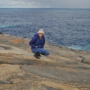 Listening to the blowholes in Torndirrup national park | Things to do in Albany Western Australia with Kids
