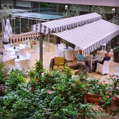 Olive Garden Terrace at Gefinor Rotana Beirut a family-friendly hotel option in Lebanon | Our Globetrotters Family Travel Blog Hotel Review