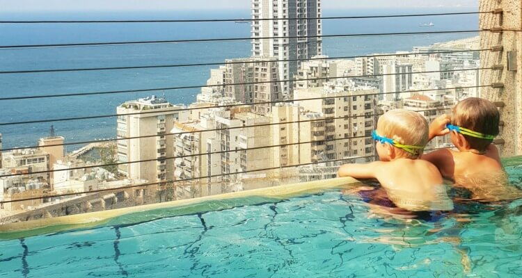 City view from the infinity pool at Gefinor Rotana Beirut a family-friendly hotel option in Lebanon | Our Globetrotters Family Travel Blog Hotel Review