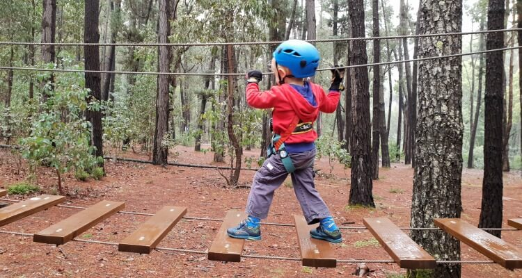4 year old in action at Trees Adventure Lane Poole Dwellingup