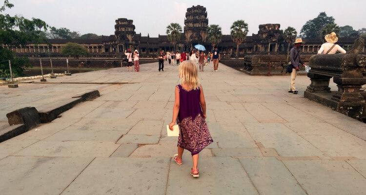 Child appraoching Angkor Wat Cambodia
