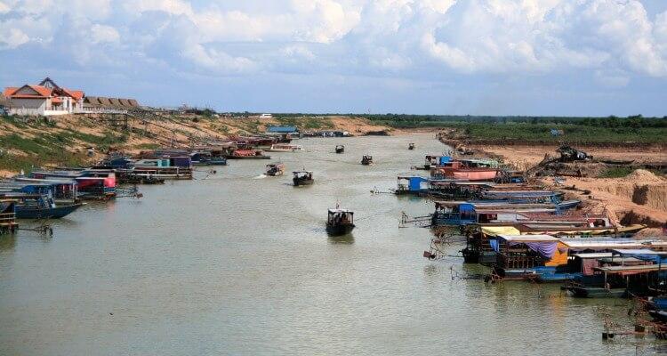 River Life near Phnom Penh Cambodia