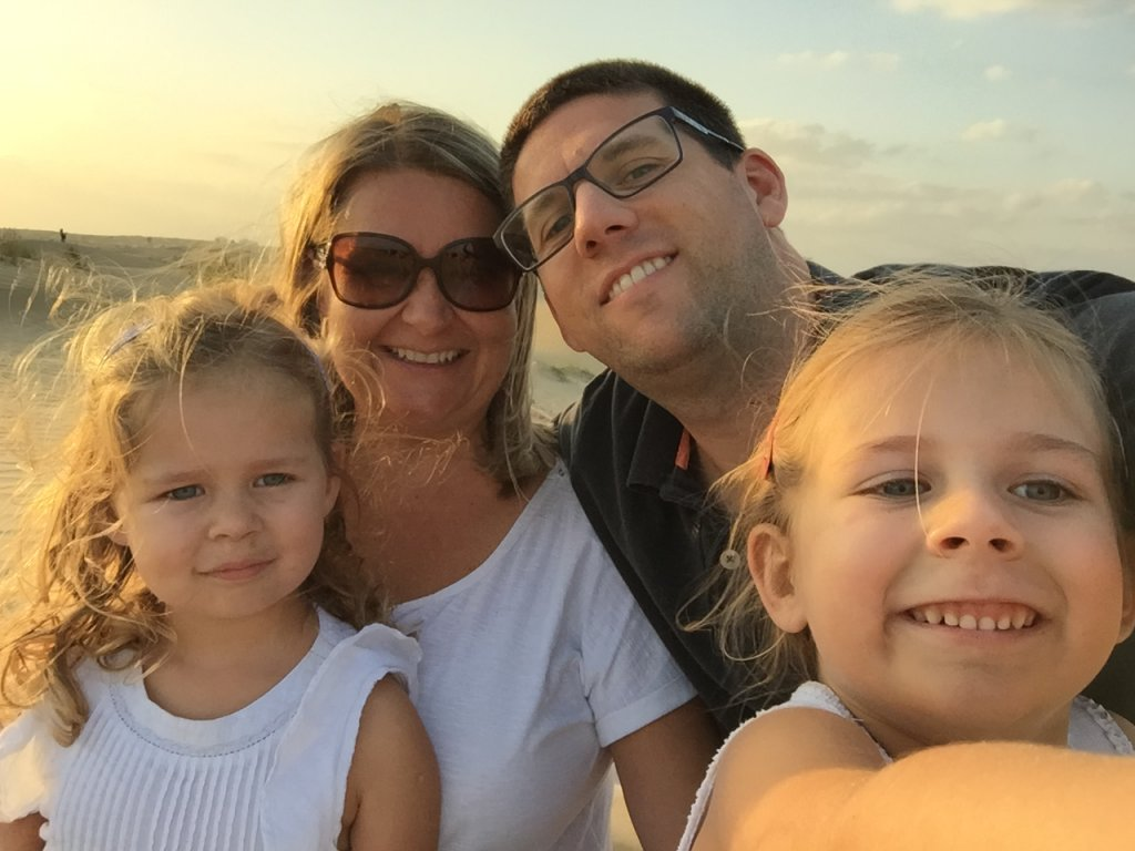 Catherine and family in the Dubai Desert | Expat Parenting stories