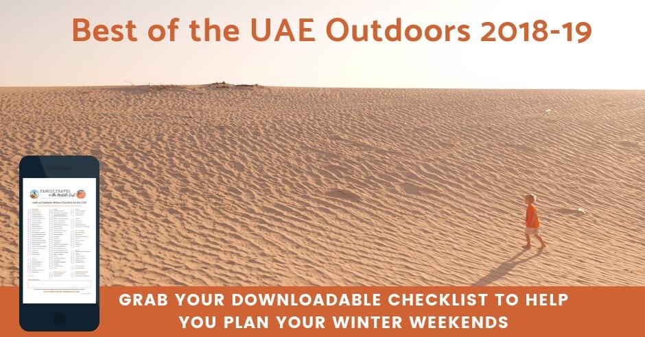Downloadable list of Abu Dhabi outdoor activities Winter 2018-19