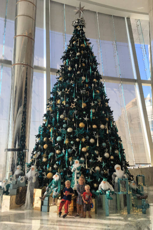 The impressive Jumeirah at Etihad Towers Christmas Tree