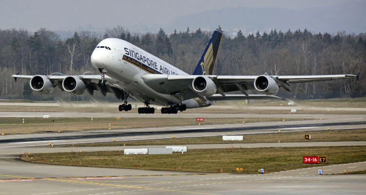 Singapore Airlines A380 taking off