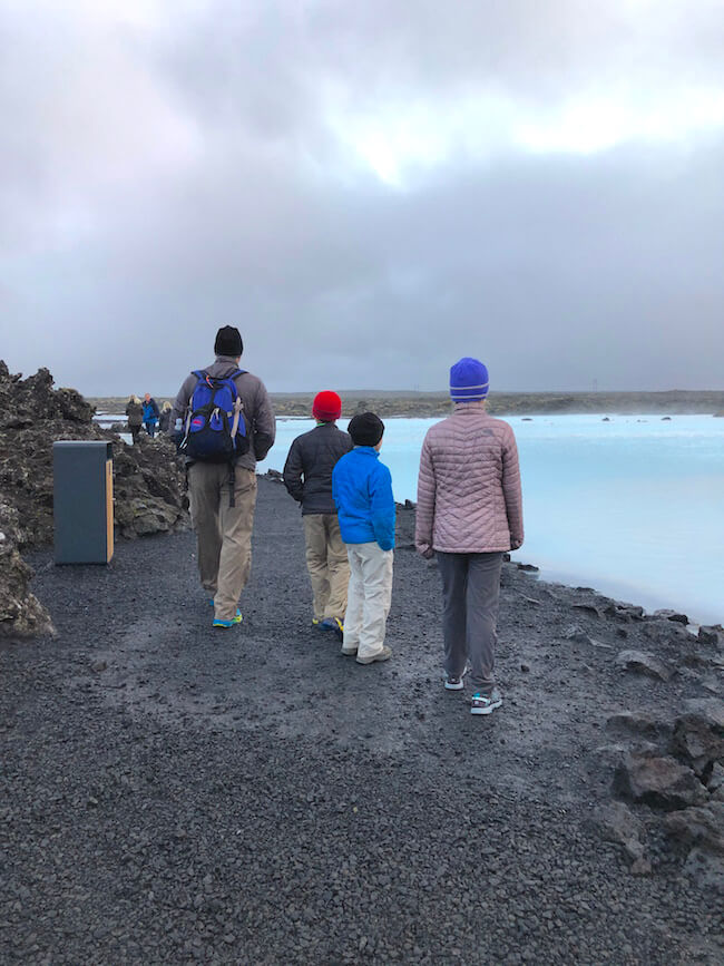 Five Family Adventurers visting the Blue Lagoon in Iceland