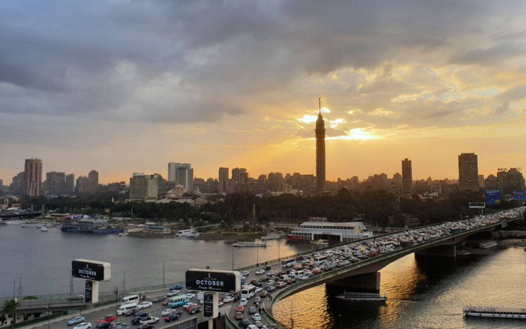 Cairo traffic, Cairo Tower at sunset