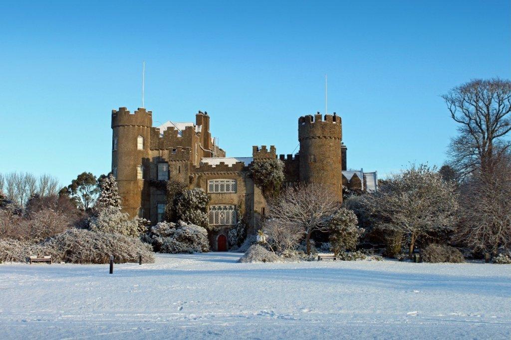 Castle in Dubalin Ireland winter snow