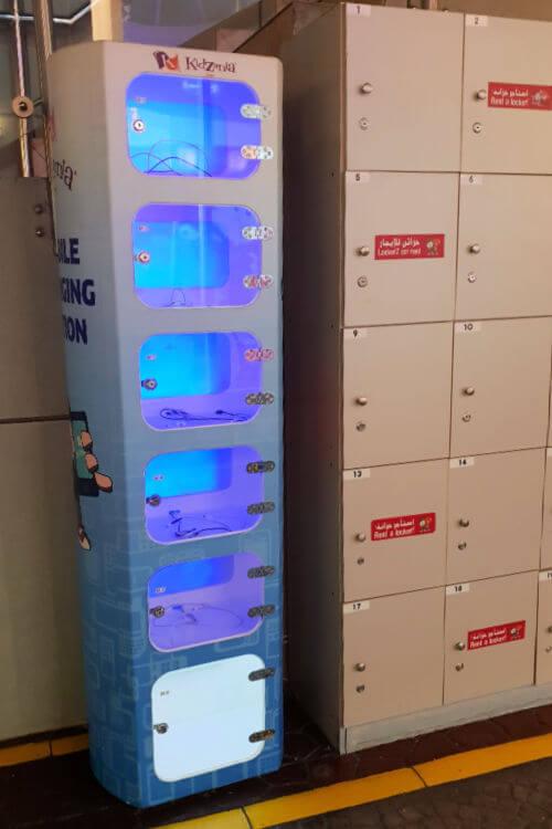 Kidzania Dubai Review | Phone charging and lockers