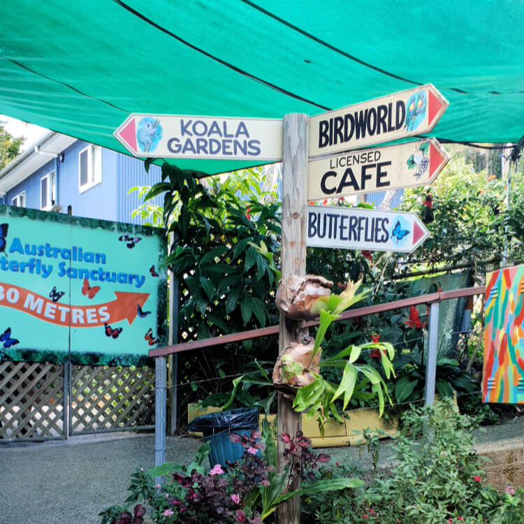 Signage in Kuranda Queensland aussie village in the mountains