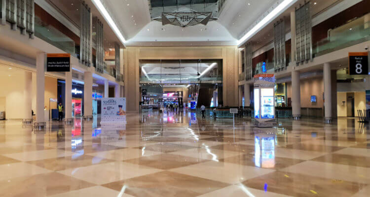 A wlak through the World Trade Centre to reach the Metro at Ibis WTC Dubai