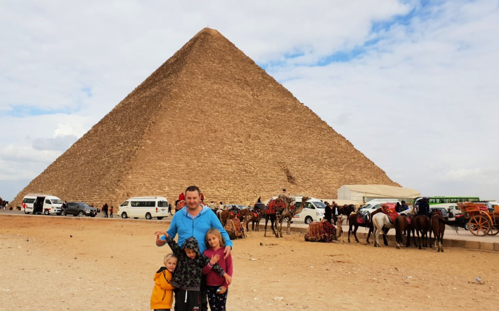 Family at Pyramids of Giza