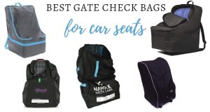 Graphic of many different styles of car seat travel bags with text overlay best gate check bags for car seats