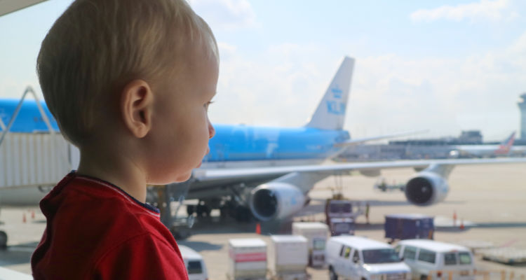 Boarding KLM aircraft with a baby