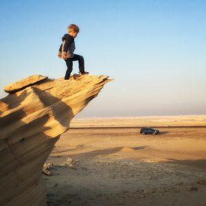 Child mon Fossil Dunes in Abu Dhabi UAE