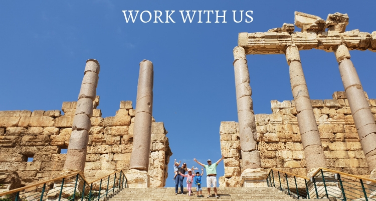 Family on the steps of Baalbek temple Lebanon Text overlay Work with us