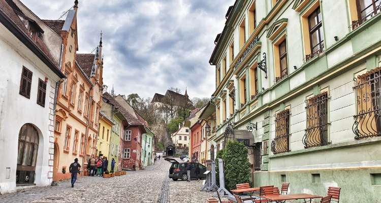 The old town of Sighisoara, the steep hill and stairs leading to St Nicolae Lutheran Church