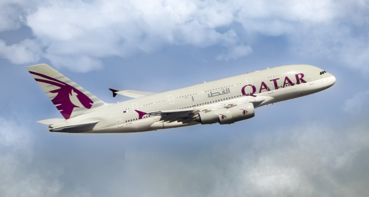 Qatar Airways Plane in Air