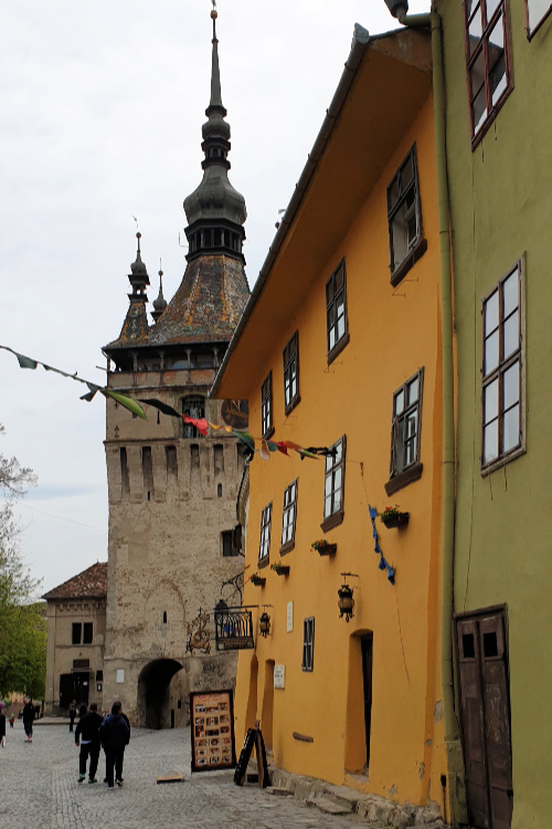 Sighisoara clock tower and Casa Vlad Dracul