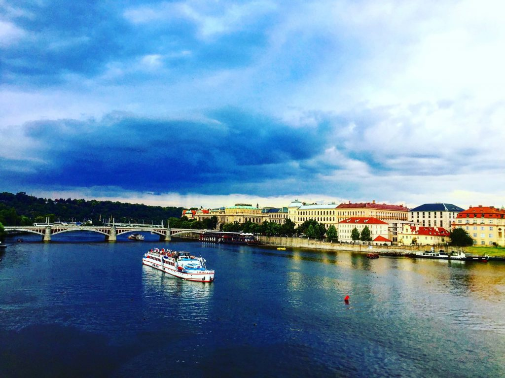 Beauitful city of Prague over the river view