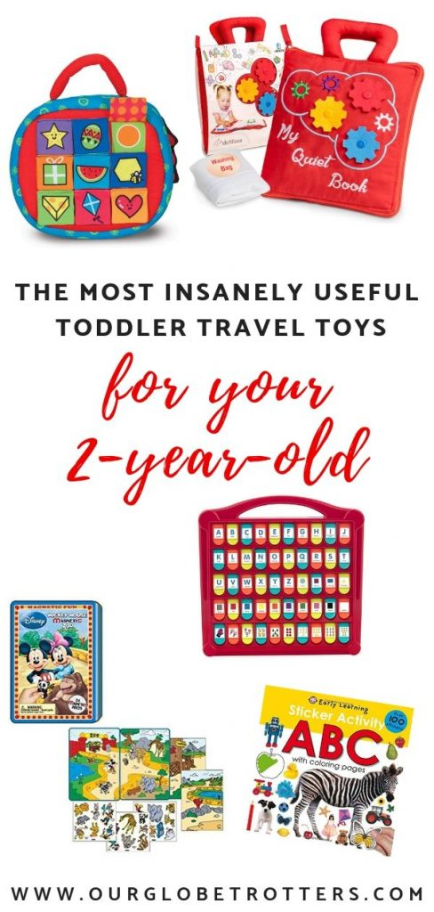 Toddler Travel Toys collage of useful itmes for a 2 year old