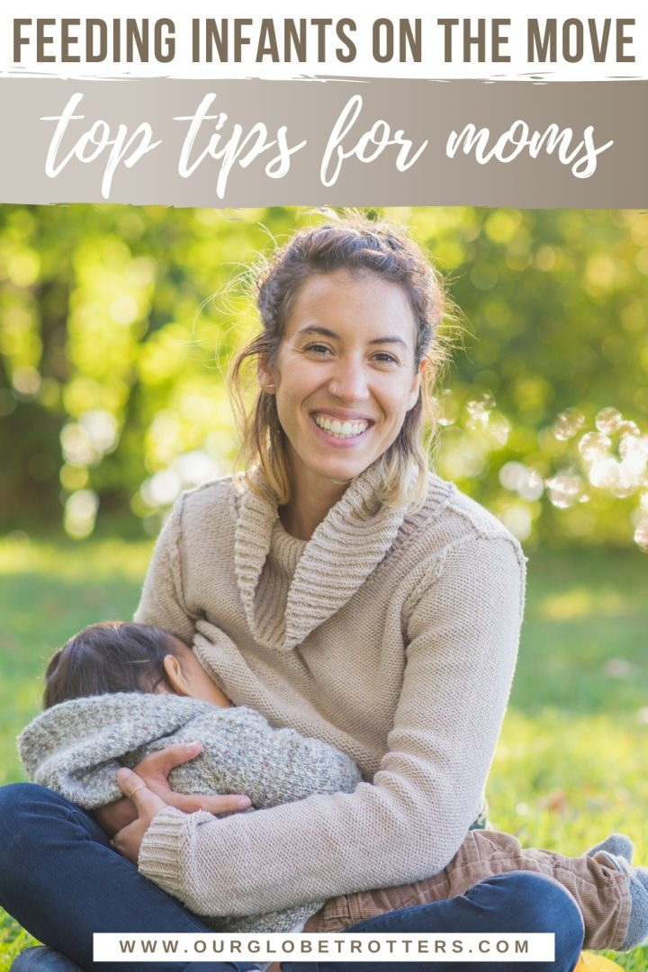 Mum breastfeeding an older infant in the park, cpation feeding infants on the move top tips for moms
