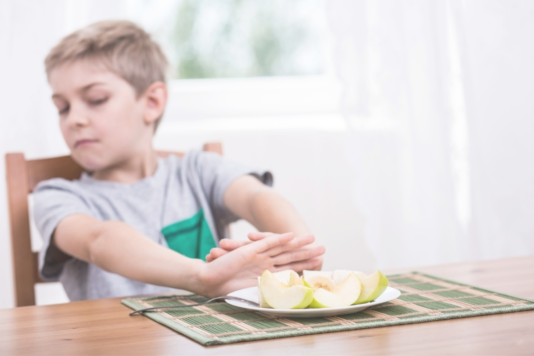 Child refusing a plate of food