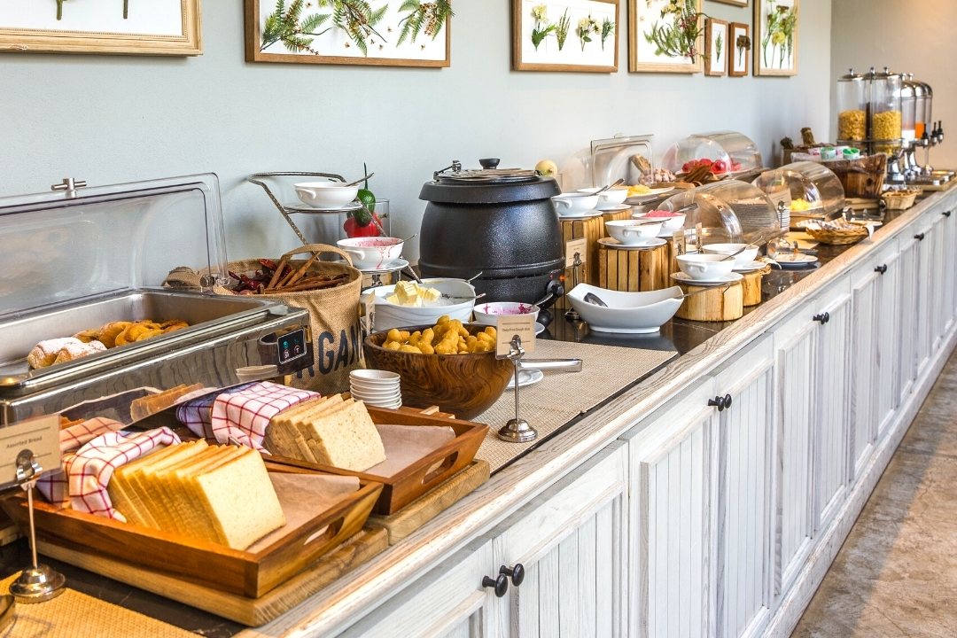 A breakfast buffet spread perfect for fussy eaters to make their own choices
