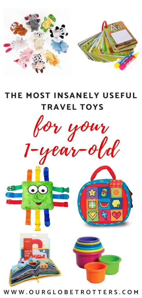 Travel toys for your 1 year old - caollage of useful tarvel toys for infants