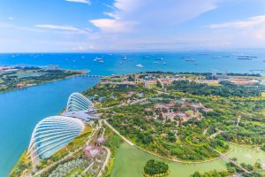 aerial view over singapore gardens by the bay