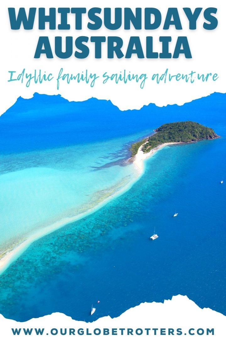 Whitsundays Australia idyllic family sailing adventure - remore island in the whitsundays aerial shot with yacht