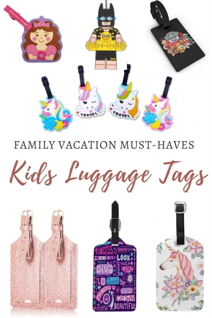 Various designs of kids luggage tags