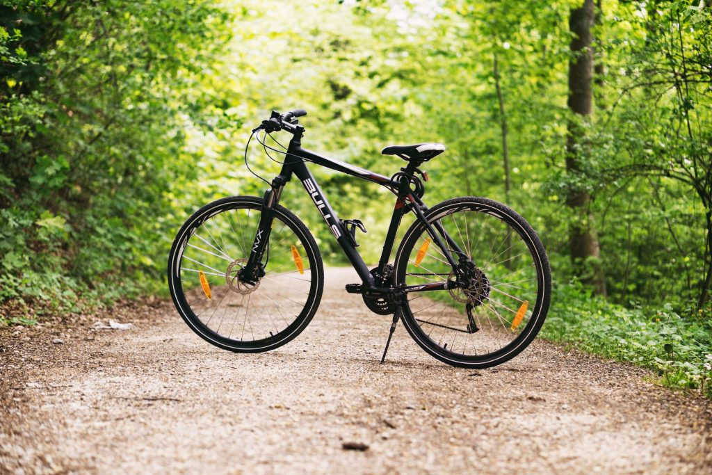 Canva - Bike in Forest path