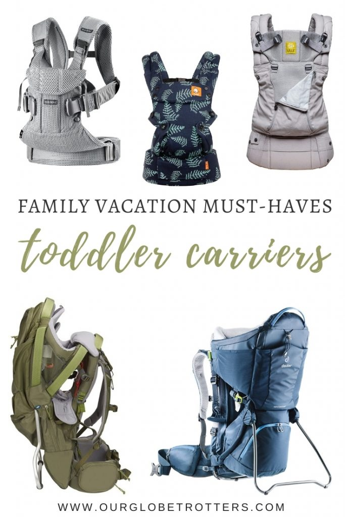 Selection of different design toddler carriers
